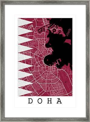 Doha Street Map - Doha Qatar Road Map Art On Qatar Flag Framed Print by Jurq Studio
