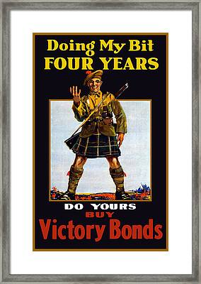Doing My Bit Four Years - Buy Victory Bonds Framed Print by War Is Hell Store