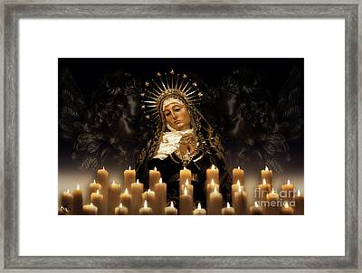 Dolorosa Comforted By Angel Love Framed Print by Rosa Cobos