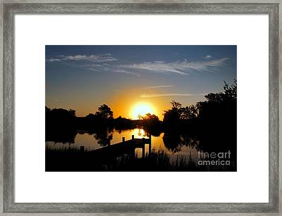 Dolphin Cove Sunrise Framed Print by Benanne Stiens