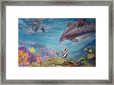 Dolphin Pod Framed Print by Diann Baggett