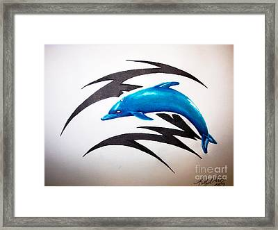 Dolphin Tattoo Framed Print by Sally Siko