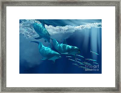 Dolphin World Framed Print by Corey Ford