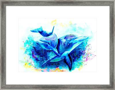 Dolphins Framed Print by Isabel Salvador