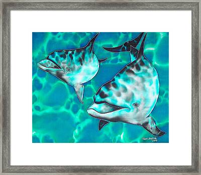 Dolphins Of Sanne Bay Framed Print by Daniel Jean-Baptiste
