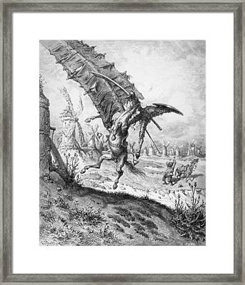 Don Quixote And The Windmills Framed Print by Gustave Dore