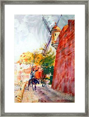 Don Quixote In San Juan Framed Print by Estela Robles