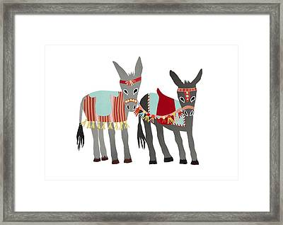 Donkeys Framed Print by Isoebl Barber