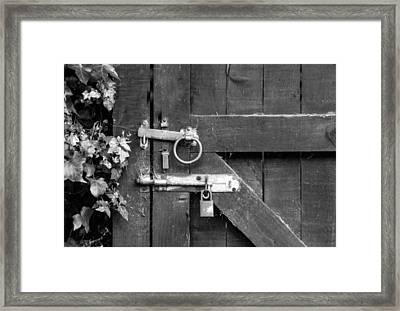 Door Bolt And Lock Monochrome Framed Print by Jeff Townsend
