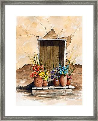 Door With Flower Pots Framed Print by Sam Sidders