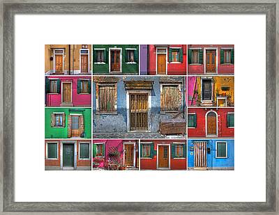 doors and windows of Burano - Venice Framed Print by Joana Kruse