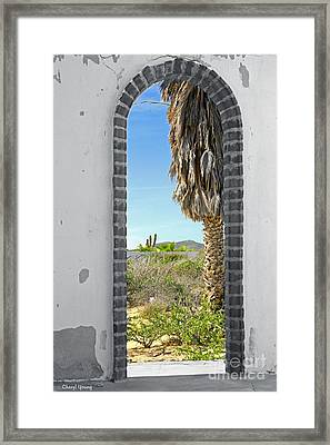 Doorway To The Desert Framed Print by Cheryl Young