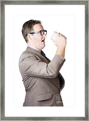 Dork Man Consuming Hot Drink In Haste. Coffee Rush Framed Print by Jorgo Photography - Wall Art Gallery
