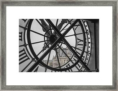 D'orsay Clock Paris Framed Print by Joan Carroll