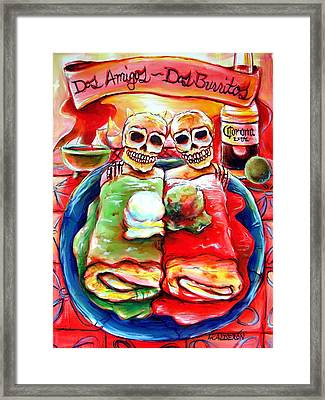 Dos Amigos Dos Burritos Framed Print by Heather Calderon