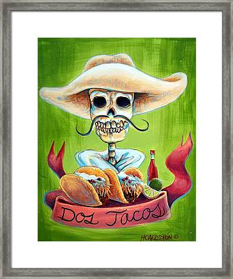 Dos Tacos Framed Print by Heather Calderon
