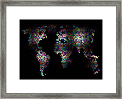 Dot Map Of The World - Multi Colours Framed Print by Michael Tompsett