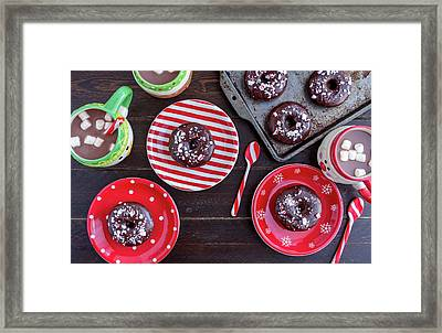 Double Chocolate Peppermint Donuts Framed Print by Teri Virbickis