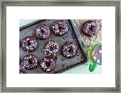 Double Chocolate Peppermint Iced Donuts Framed Print by Teri Virbickis