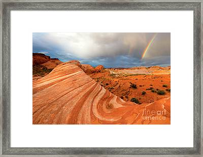 Double Desert Rainbow Framed Print by Mike Dawson