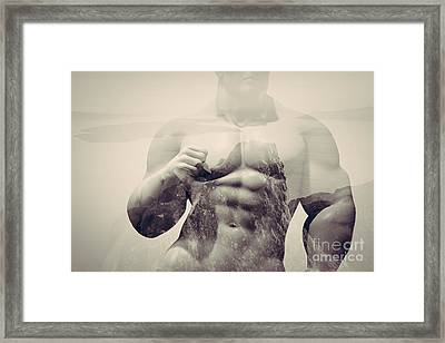 Double Exposure Of Strong Map On Rocks And Ocean Landscape Framed Print by Michal Bednarek