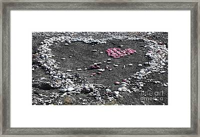 Double Heart On The Beach Framed Print by John Rizzuto