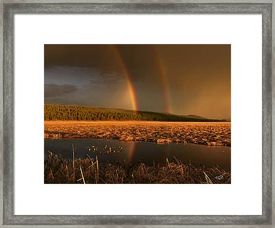 Secondary Rainbow Reflection Framed Print by Leland D Howard