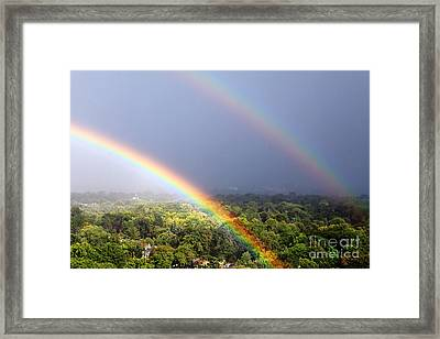 Double Rainbows Framed Print by Charline Xia