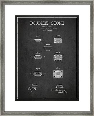 Doublet Stone Patent From 1873 - Charcoal Framed Print by Aged Pixel