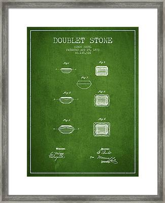 Doublet Stone Patent From 1873 - Green Framed Print by Aged Pixel