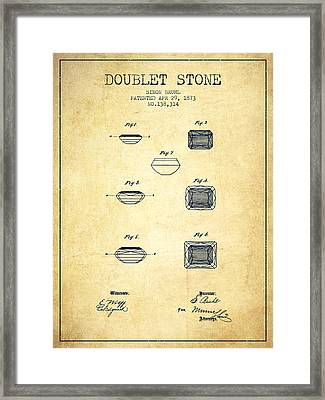 Doublet Stone Patent From 1873 - Vintage Framed Print by Aged Pixel