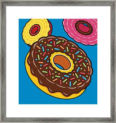 Doughnuts On Blue Framed Print by Ron Magnes