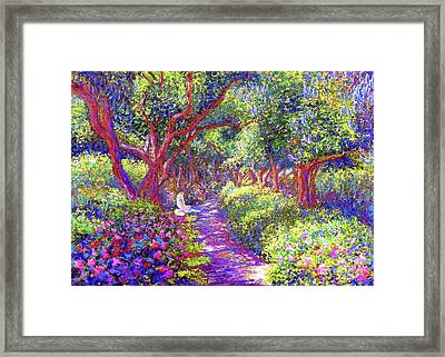 Dove And Healing Garden Framed Print by Jane Small