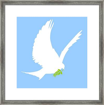 Dove And Olive Branch Framed Print by Colette Scharf