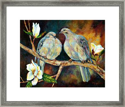 Doves And Magnolia Framed Print by Peggy Wilson