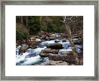 Down Stream From Glade Creek Grist Mill Framed Print by Chris Flees