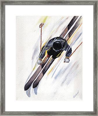 Downhill Skier Framed Print by Robin Wiesneth