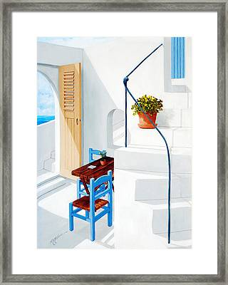 Downstairs In Santorini Framed Print by Mary Grden's Baywood Gallery