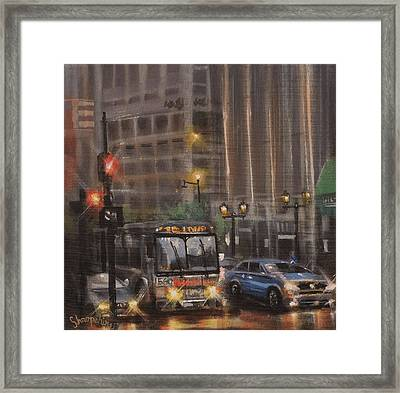 Downtown Bus Framed Print by Tom Shropshire