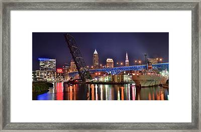 Downtown Cleveland Framed Print by Frozen in Time Fine Art Photography
