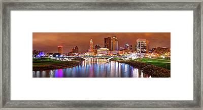 Downtown Columbus Ohio Skyline Panorama At Night Framed Print by Gregory Ballos
