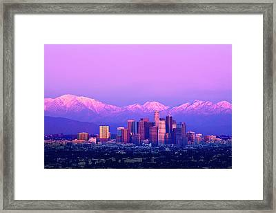 Downtown Los Angeles In Winter Framed Print by Andrew Kennelly