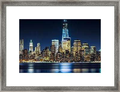 Downtown Manhattan From Hoboken Framed Print by Val Black Russian Tourchin