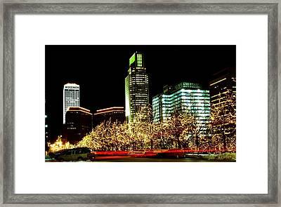 Downtown Omaha Skyline Framed Print by Jetson Nguyen