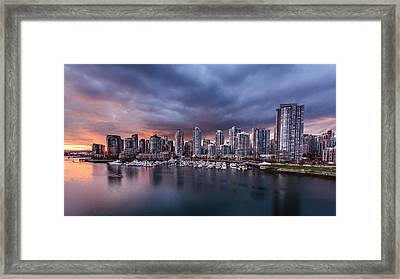 Downtown Vancouver Sunset Framed Print by Alan W
