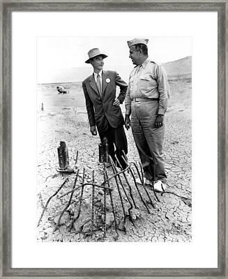 Dr. J. Robert Oppenheimer, With Maj Framed Print by Everett