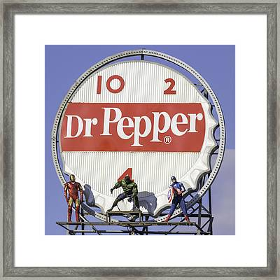 Dr Pepper And The Avengers Squared Framed Print by Keith Mucha