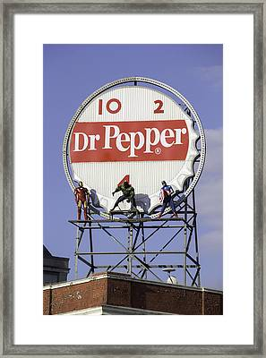 Dr Pepper And The Avengers Framed Print by Teresa Mucha
