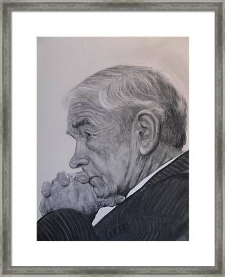 Dr. Ron Paul, Pensive Framed Print by Adrienne Martino