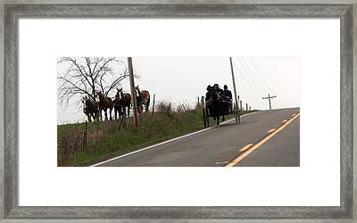 Draft Horses And Amish Framed Print by R A W M